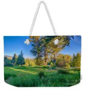 View Of Mt Gardner From Cottonwood Cottage Weekender Tote Bag