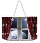 View Of The Earth Through A Window With Curtains Weekender Tote Bag