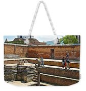 View Of White Temple From Pool Area Behind Bhaktapur Durbar Square In Bhaktapur-nepal - Weekender Tote Bag