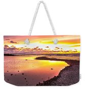 View Opposite Of Mackinac Bridge From Mcgulpin Point At Sunset. Weekender Tote Bag