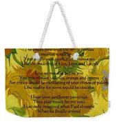 Vincent's Sunflower Song Weekender Tote Bag