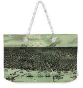 Vintage 1889 Detroit Michigan Map Weekender Tote Bag