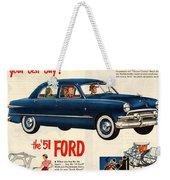 Vintage 1951 Ford Car Advert Weekender Tote Bag