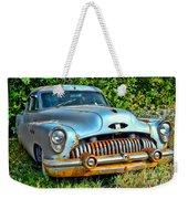 Vintage American Car In Yard Weekender Tote Bag