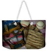 Vintage Baseball American Folk Art Weekender Tote Bag