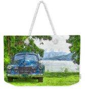 Vintage Blue Caddy At Lake George New York Weekender Tote Bag