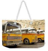 Vintage British Buses In Valetta Malta Weekender Tote Bag