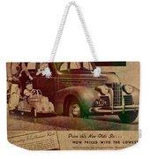 Vintage Car Advertisement 1939 Oldsmobile On Worn Faded Paper Weekender Tote Bag
