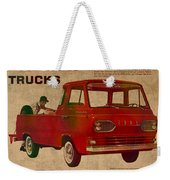 Vintage Car Advertisement 1961 Ford Econoline Truck Ad Poster On Worn Faded Paper Weekender Tote Bag