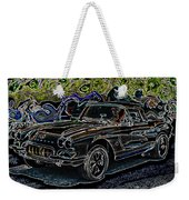 Vintage Chevy Corvette Black Neon Automotive Artwork Weekender Tote Bag