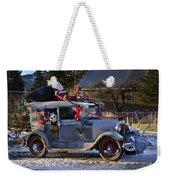 Vintage Christmas Car Weekender Tote Bag