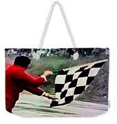 Vintage Formula Race Checkered Flag Weekender Tote Bag