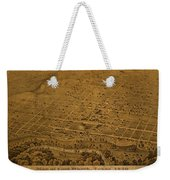 Vintage Fort Worth Texas In 1876 City Map On Worn Canvas Weekender Tote Bag by Design Turnpike