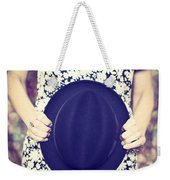 Vintage Hat Flower Dress Woman Weekender Tote Bag