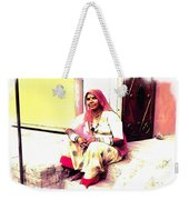 Vintage Just Sitting 2 - Woman Portrait - Indian Village Rajasthani Weekender Tote Bag