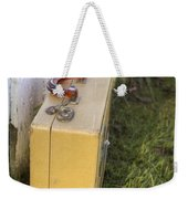 Vintage Luggage Left By A White Picket Fence Weekender Tote Bag