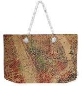Vintage Manhattan Street Map Watercolor On Worn Canvas Weekender Tote Bag