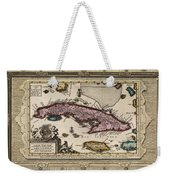Vintage Map Of Cuba Weekender Tote Bag