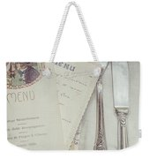 Vintage Menu Cards Knife And Fork Weekender Tote Bag
