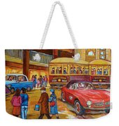Vintage Montreal-st.catherine And Union-couples And Streetcars Weekender Tote Bag