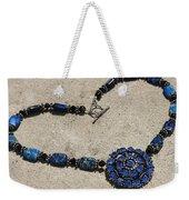 Vintage Sapphire Rhinestone Brooch Pendant Necklace 3635n Weekender Tote Bag