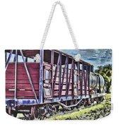 Vintage Steam Locomotive Carriages Weekender Tote Bag