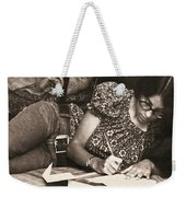 Vintage Young Woman Writing  Weekender Tote Bag