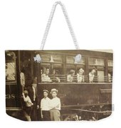 Vintage Train All Aboard Weekender Tote Bag