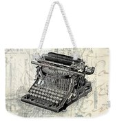 Vintage Typewriter French Letters Square Format Weekender Tote Bag