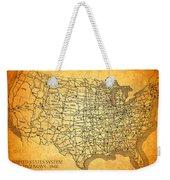 Vintage United States Highway System Map On Worn Canvas Weekender Tote Bag