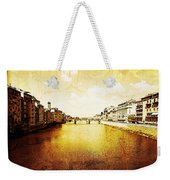 Vintage View Of River Arno Weekender Tote Bag