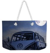 Vintage Vw Bus Parked At The Beach Under The Moonlight Weekender Tote Bag