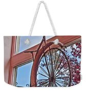Vintage Wrought Iron Bike In Window Art Prints Weekender Tote Bag