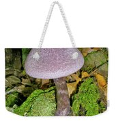 Violet Cortinarious -cortinarious Violaceus Mushroom On Mossy Log Weekender Tote Bag