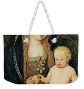 Virgin And Child With Pomegranate Weekender Tote Bag by Hans Holbein the Younger