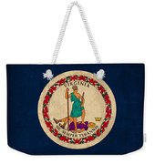 Virginia State Flag Art On Worn Canvas Weekender Tote Bag