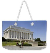 Visitors At The Lincoln Memorial Weekender Tote Bag