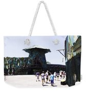 Visitors Heading Towards The Waterworld Attraction At Universal Studios Weekender Tote Bag
