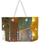 Visitors Pass Bottoms Of Feet Of Reclining Buddha In Wat Po In B Weekender Tote Bag