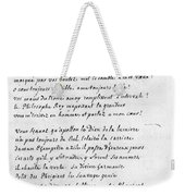 Voltaire Letter, 1740 Weekender Tote Bag