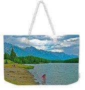 Wading In Johnson Lake In Banff Np-alberta Weekender Tote Bag
