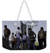 Waiting At The Top Of The Steps Next To The Dal Lake In Srinagar Weekender Tote Bag