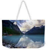 Waiting For Sunrise At Lake Louise Weekender Tote Bag
