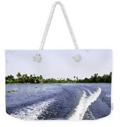 Wake From The Wash Of An Outboard Motor Boat In A Lagoon Weekender Tote Bag