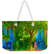 Walk In The City Past Blue Houses Staircases And Shade Trees Montreal Summer Scene Carole Spandau Weekender Tote Bag