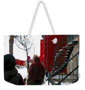 Walking The Dog Through Snowy Streets Of Montreal Urban Winter City Scenes Carole Spandau Weekender Tote Bag