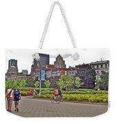 Walkway By Quays Along Saint Lawrence River In Montreal-qc Weekender Tote Bag