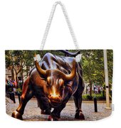 Wall Street Bull Weekender Tote Bag by David Smith