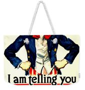 War Poster - Ww1 - Uncle Sam Savings Weekender Tote Bag