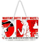 War Poster - Ww2 - Dont Waste Water 1 Weekender Tote Bag